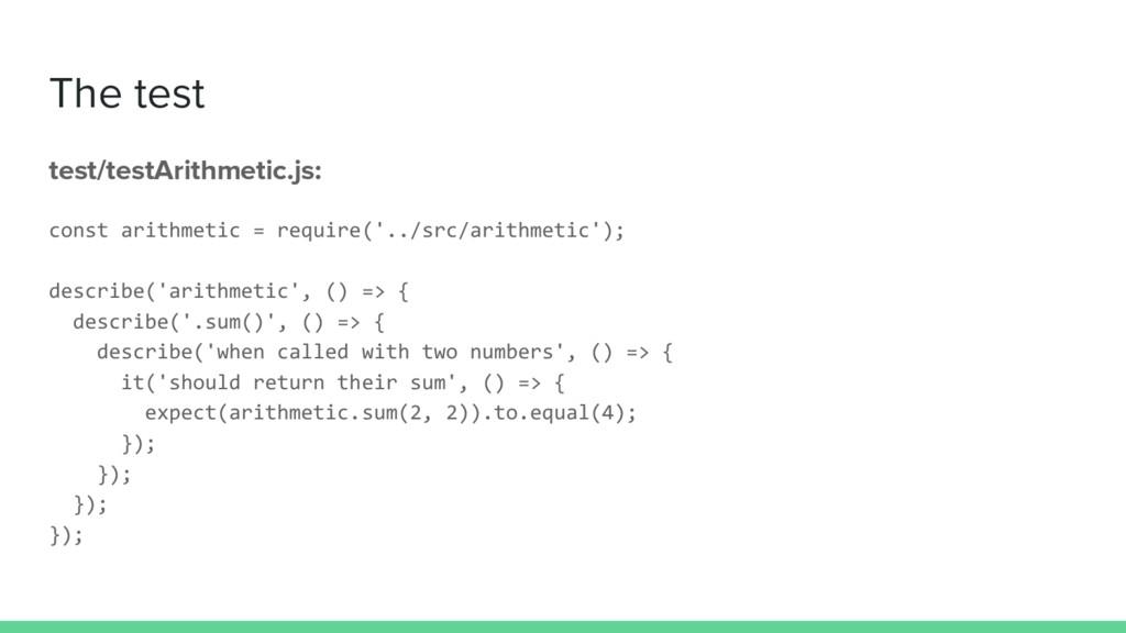 The test test/testArithmetic.js: const arithmet...