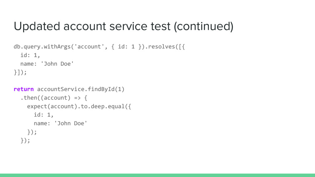 Updated account service test (continued) db.que...
