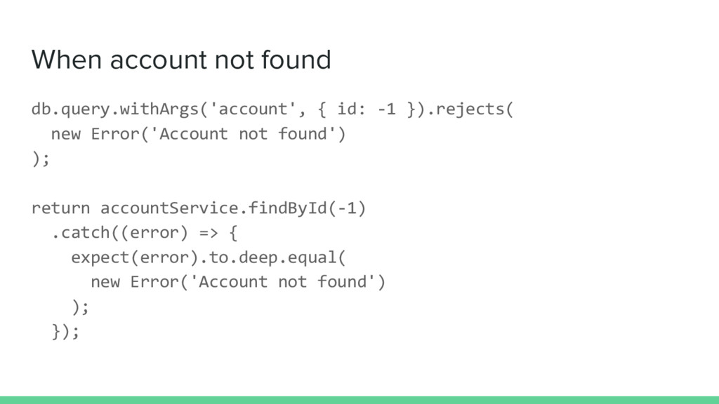 When account not found db.query.withArgs('accou...