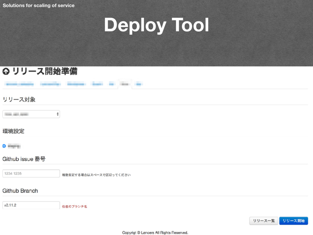 Deploy Tool Solutions for scaling of service