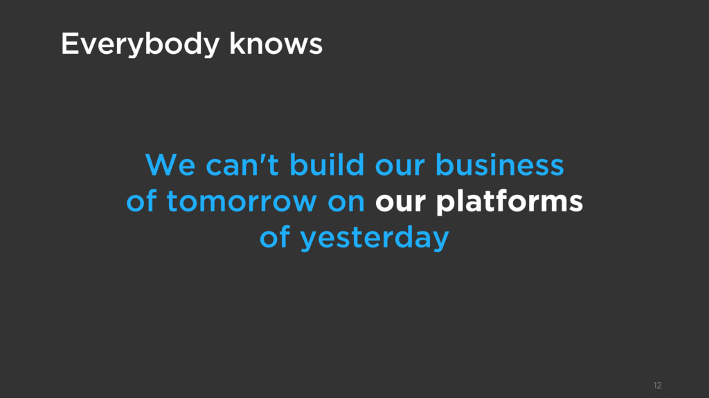 We can't build our business  of tomorrow on ou...