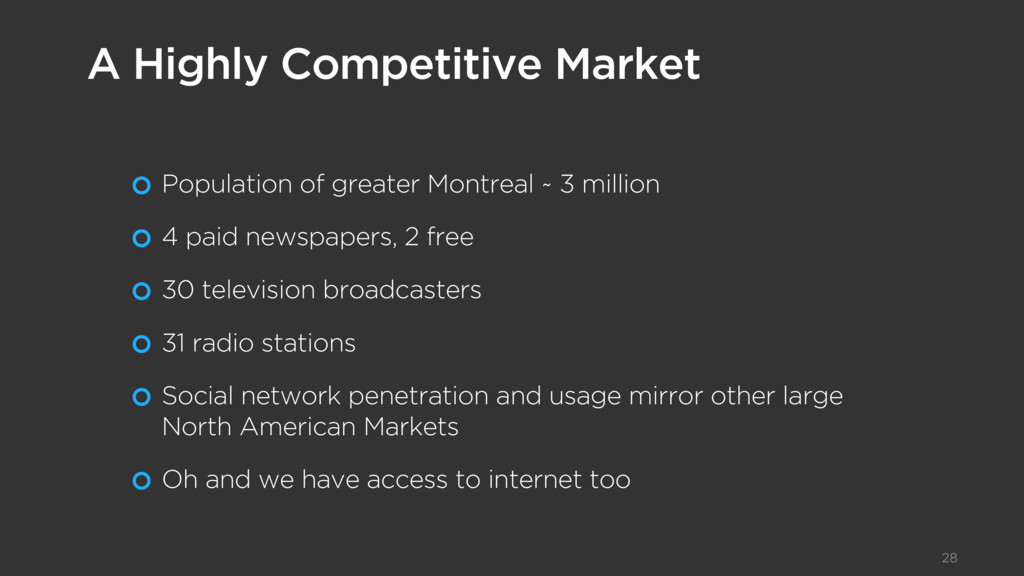 Population of greater Montreal ~ 3 million 4 pa...