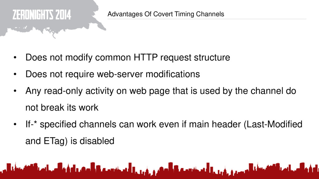Advantages Of Covert Timing Channels • Does not...