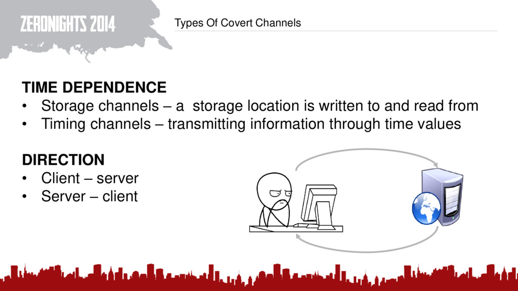 Types Of Covert Channels TIME DEPENDENCE • Stor...