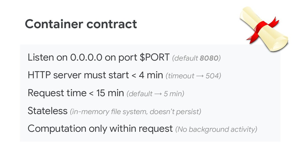 Container contract Listen on 0.0.0.0 on port $P...