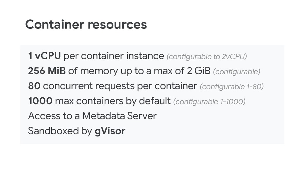 Container resources 1 vCPU per container instan...