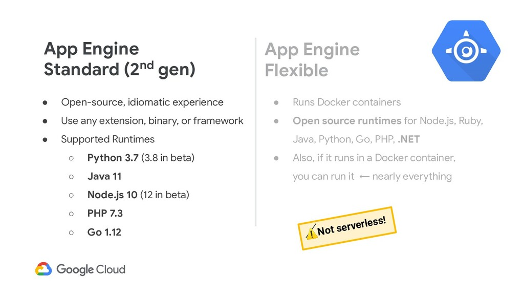 App Engine Standard (2nd gen) ● Open-source, id...