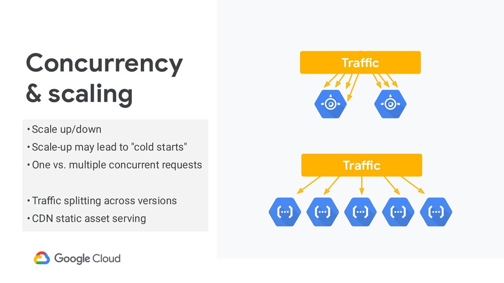 Concurrency & scaling Traffic Traffic •Scale up...