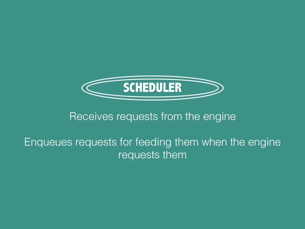 SCHEDULER Receives requests from the engine Enq...