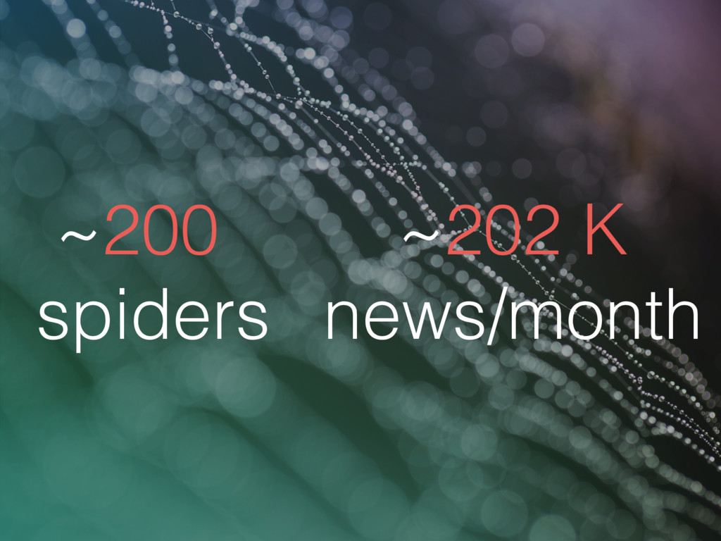 ~200 spiders ~202 K news/month