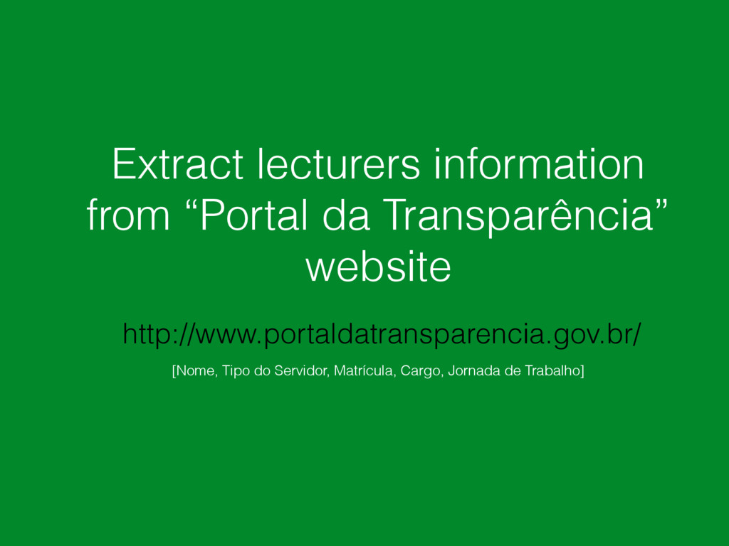 """Extract lecturers information from """"Portal da T..."""
