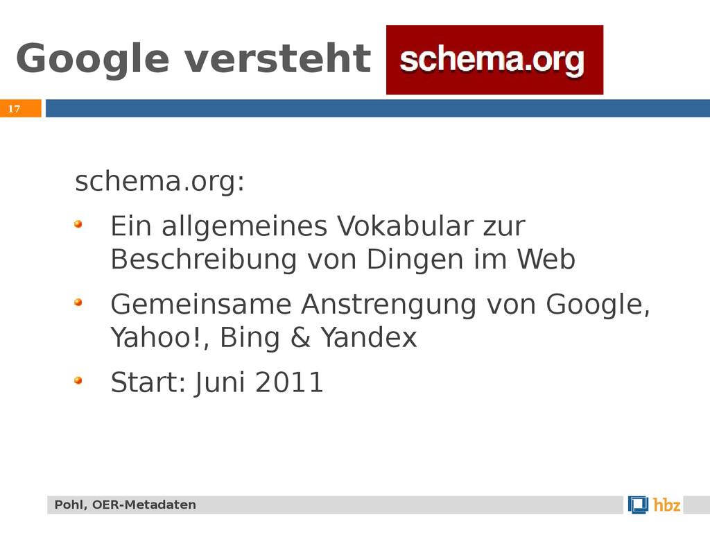 Google versteht 17 schema.org: Ein allgemeines ...