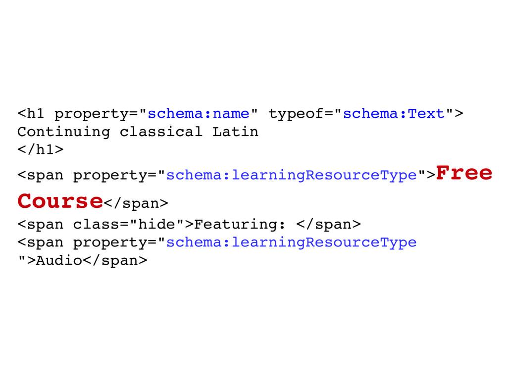 """<h1 property=""""schema:name"""" typeof=""""schema:Text""""..."""