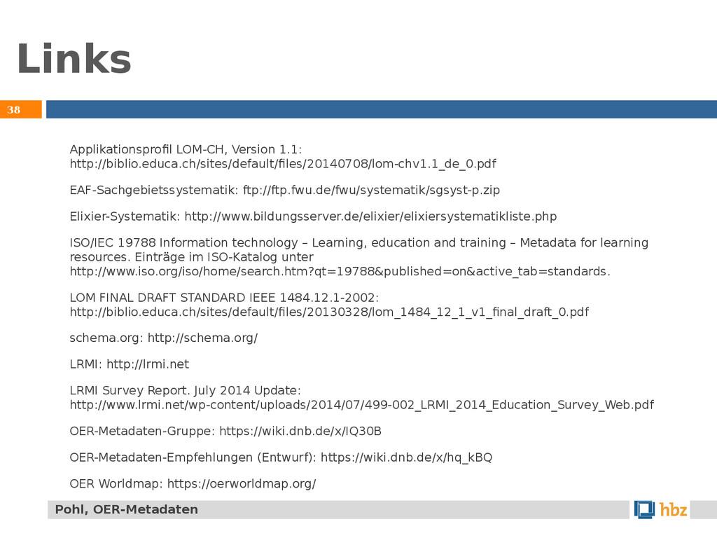 Links 38 Applikationsprofil LOM-CH, Version 1.1...
