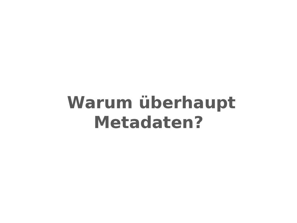 Warum überhaupt Metadaten?
