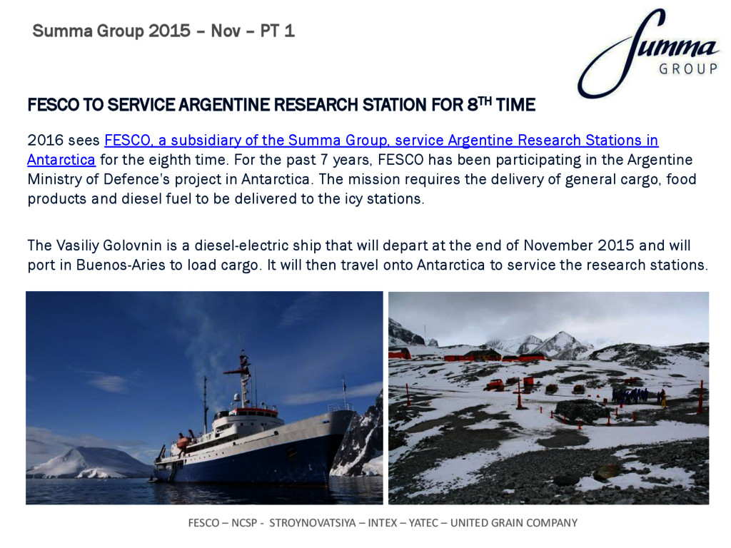 FESCO TO SERVICE ARGENTINE RESEARCH STATION FOR...