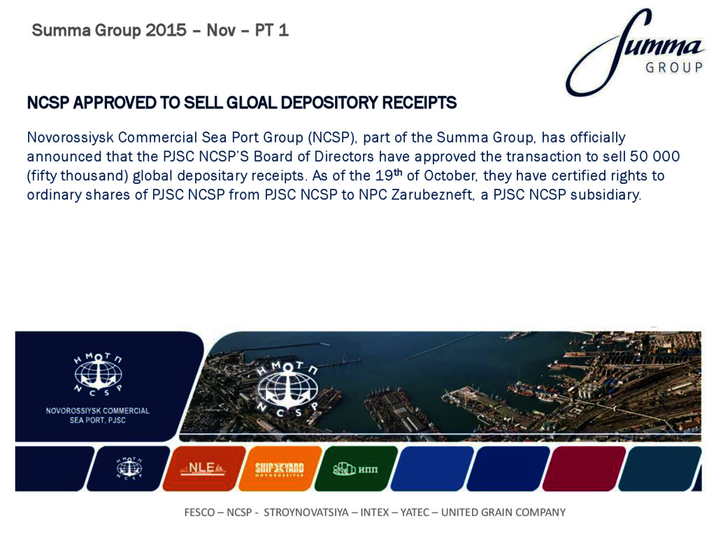 NCSP APPROVED TO SELL GLOAL DEPOSITORY RECEIPTS...