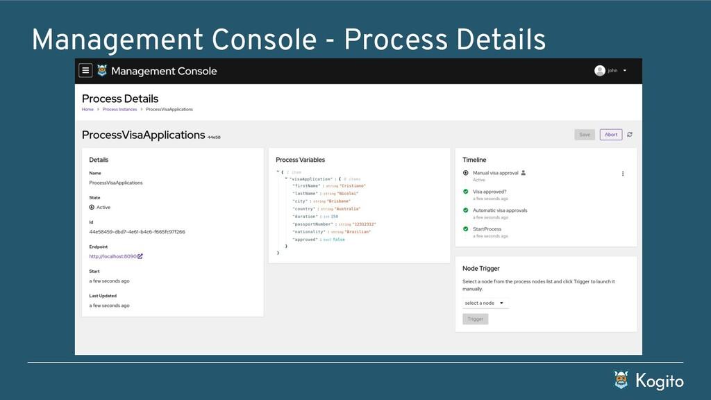 Management Console - Process Details