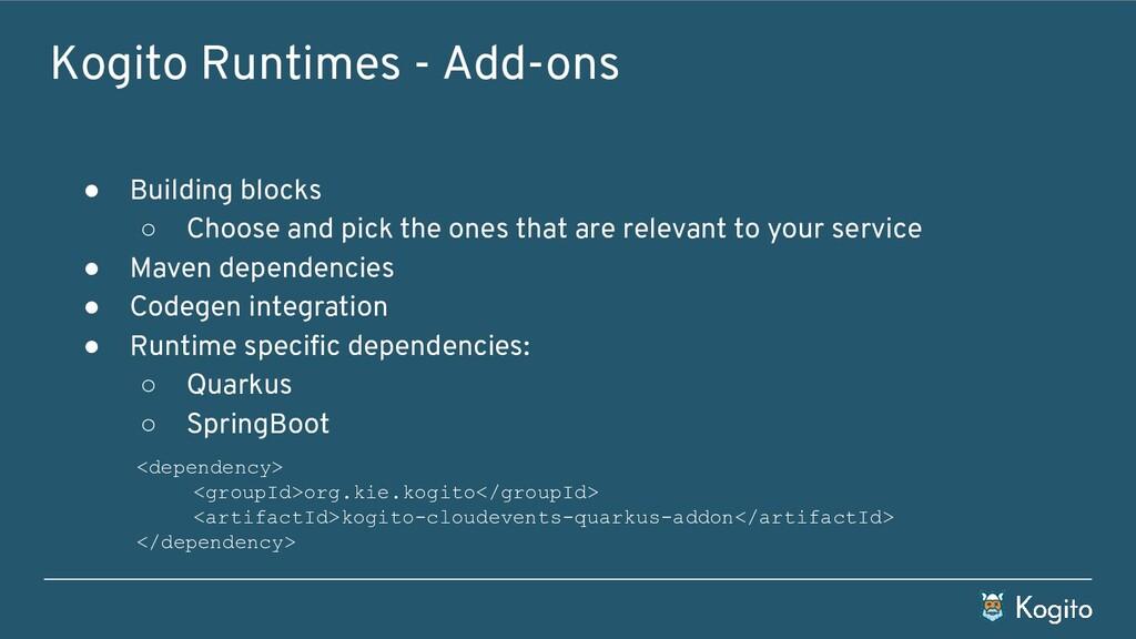 Kogito Runtimes - Add-ons ● Building blocks ○ C...