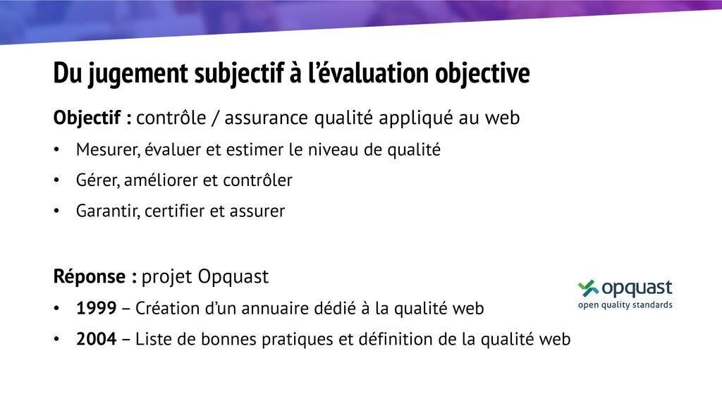 Du jugement subjectif à l'évaluation objective ...
