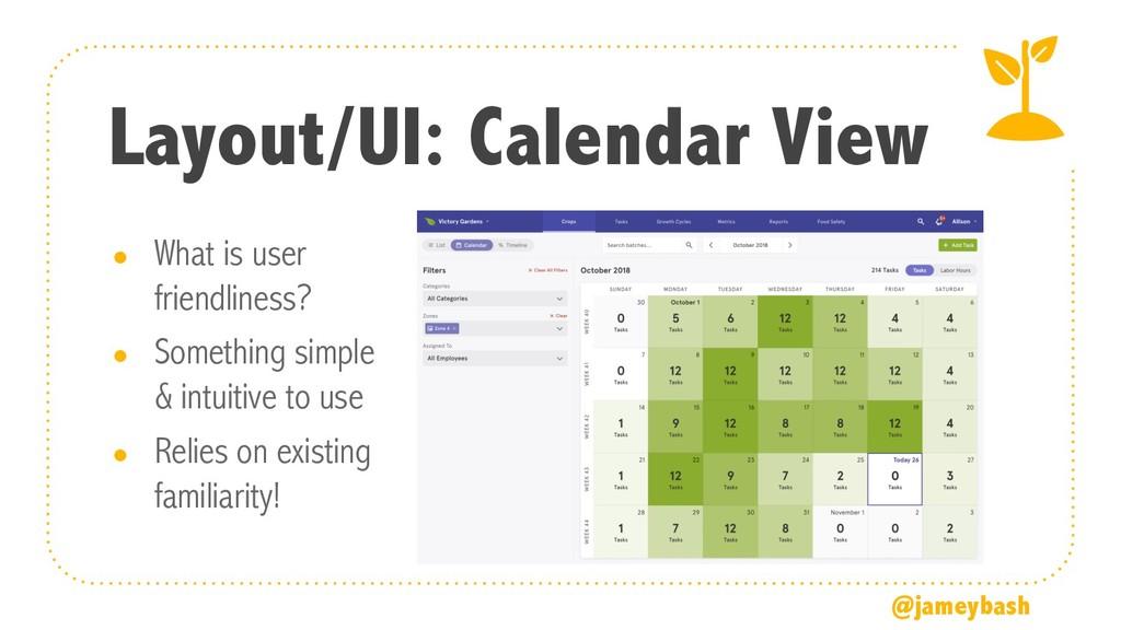 Layout/UI: Calendar View ● What is user friendl...