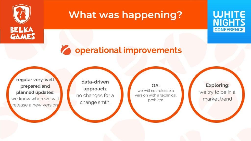 operational improvements regular very-well prep...
