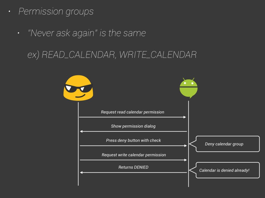 """• Permission groups • """"Never ask again"""" is the ..."""