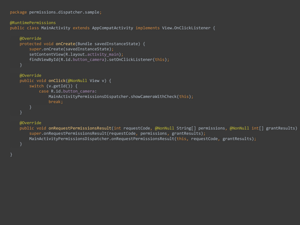 package permissions.dispatcher.sample;  @Run...