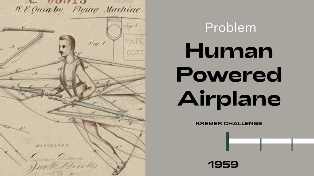 Problem Human Powered Airplane KREMER CHALLENGE...