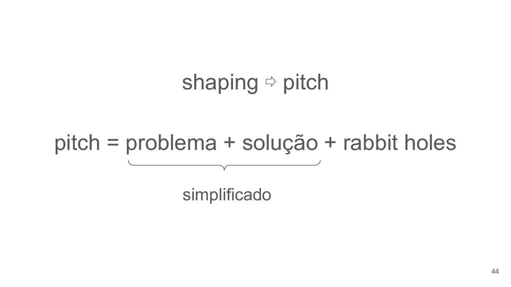 shaping ⇨ pitch pitch = problema + solução + ra...