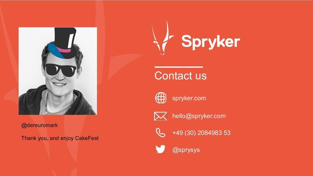 Contact us spryker.com hello@spryker.com @sprys...