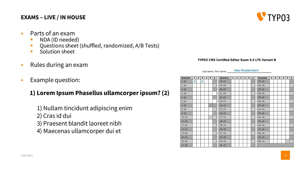 EXAMS – LIVE / IN HOUSE ▪ Parts of an exam ▪ ND...