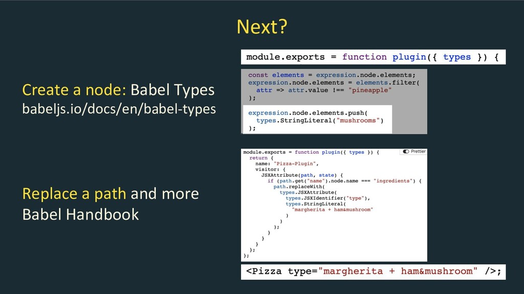 Next? Replace a path and more Babel Handbook Cr...