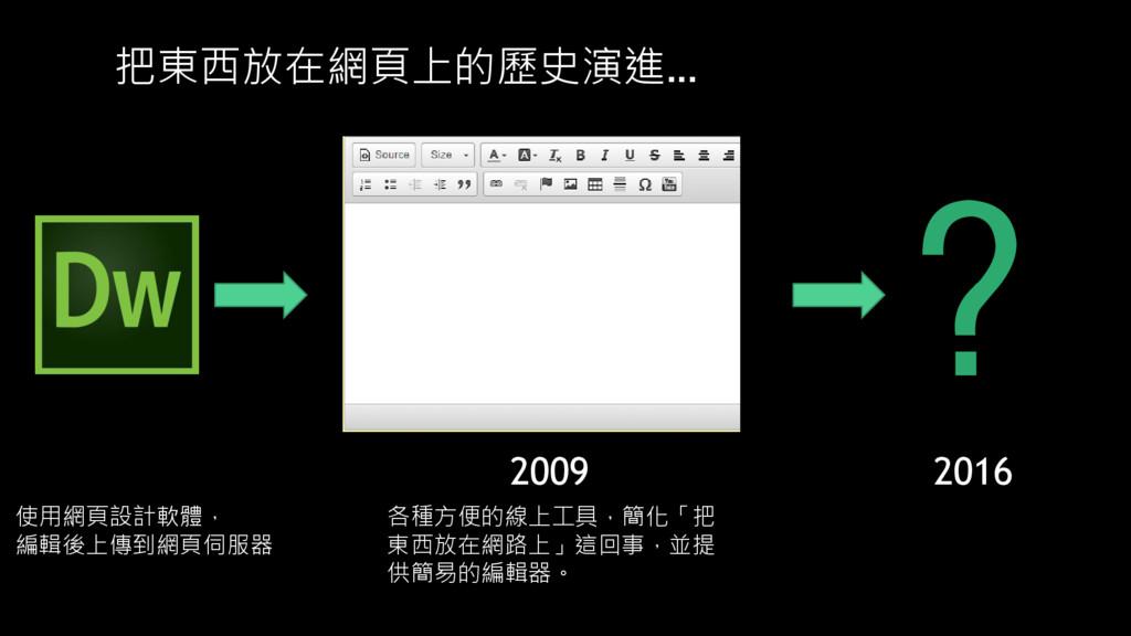 把東西放在網頁上的歷史演進… ? 2009 2016 使用網頁設計軟體, 編輯後上傳到網頁伺服...