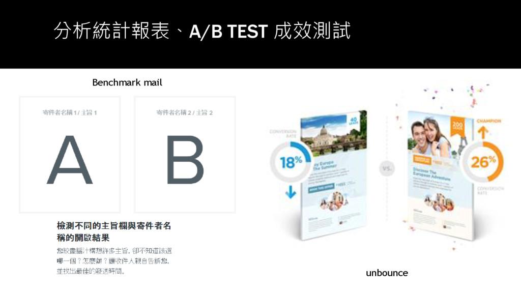 分析統計報表、A/B TEST 成效測試 unbounce Benchmark mail