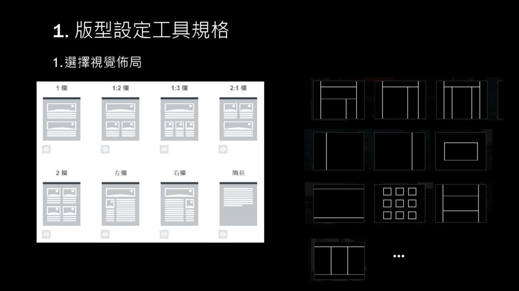 1. 版型設定工具規格 1.選擇視覺佈局 …