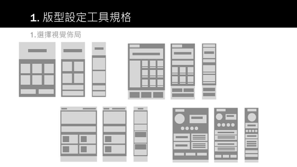 1.選擇視覺佈局 1. 版型設定工具規格