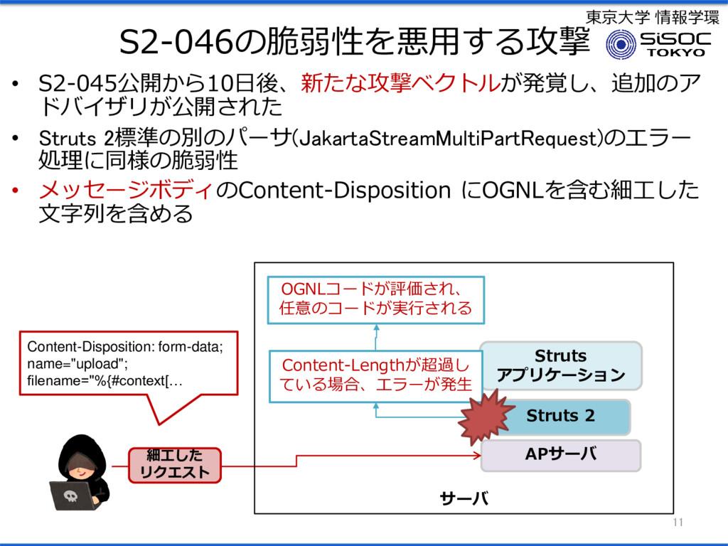 東京大学 情報学環 S2-046の脆弱性を悪用する攻撃 • S2-045公開から10日後、新た...