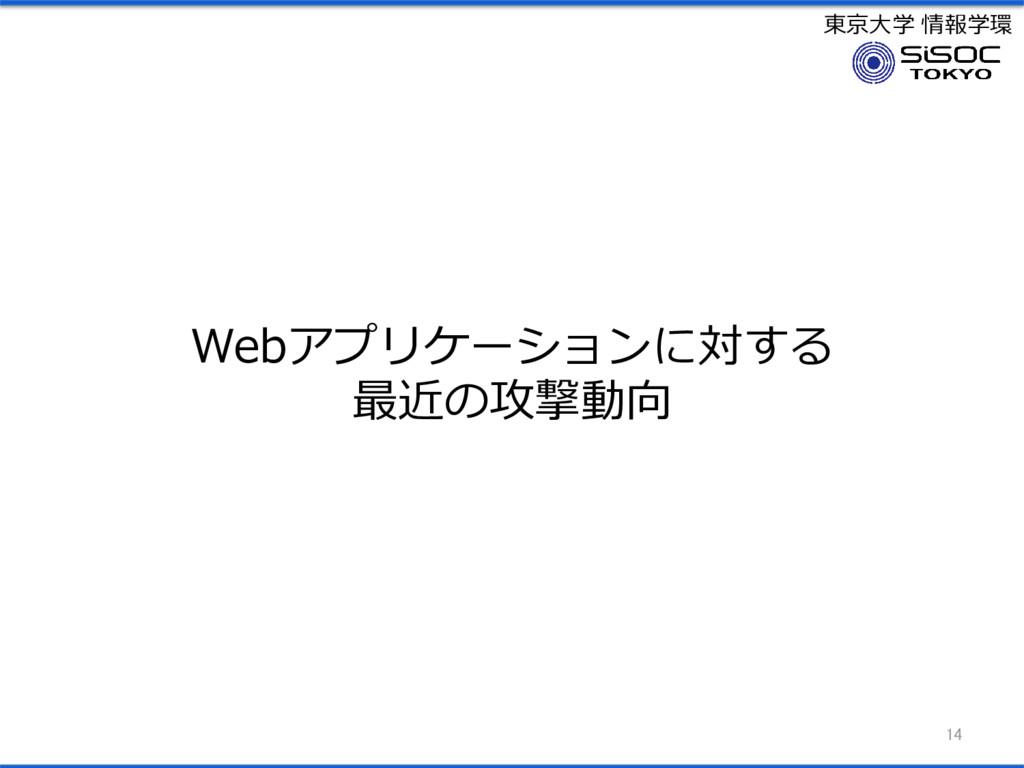 東京大学 情報学環 Webアプリケーションに対する 最近の攻撃動向 14