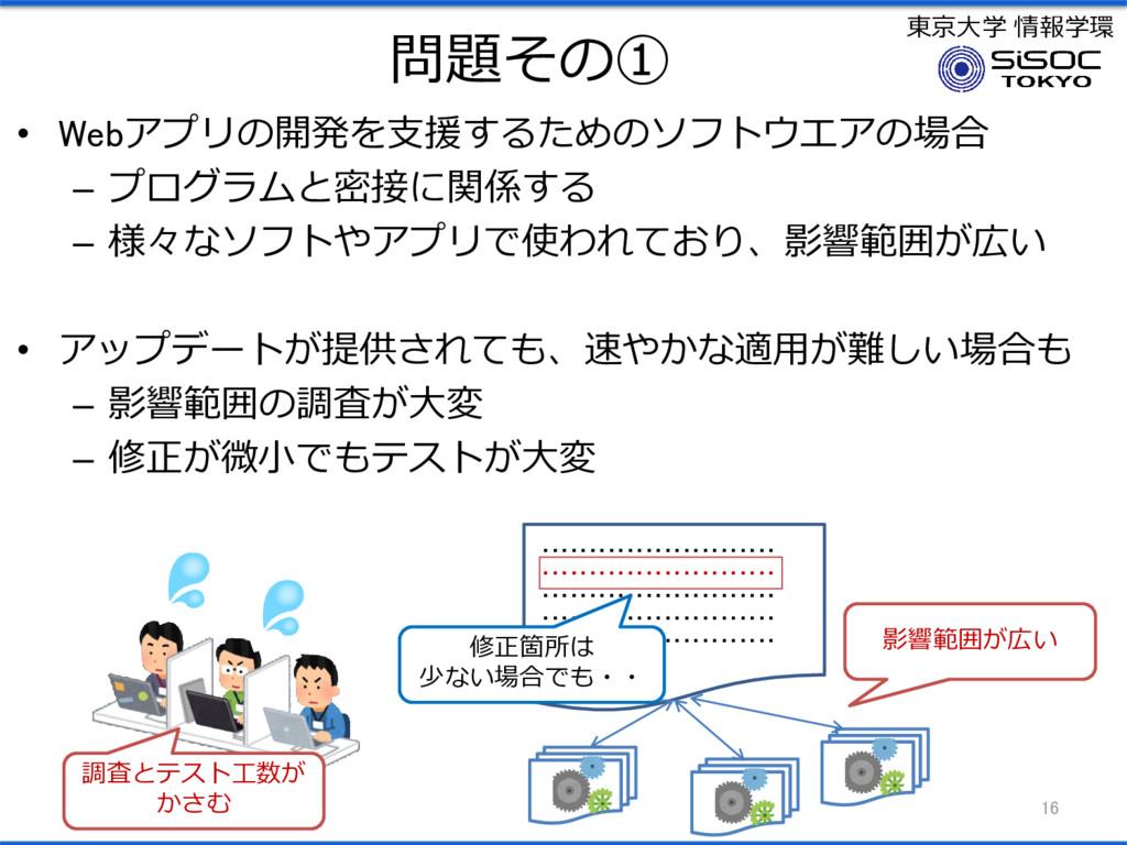 東京大学 情報学環 問題その① • Webアプリの開発を支援するためのソフトウエアの場合 – ...