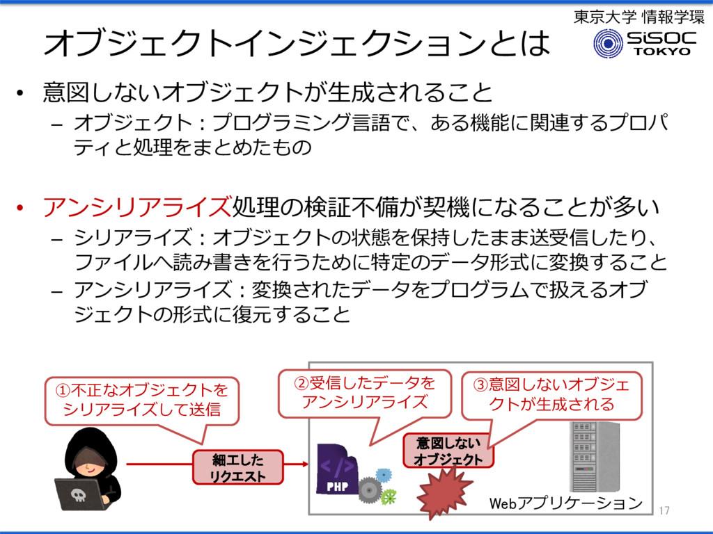 東京大学 情報学環 オブジェクトインジェクションとは • 意図しないオブジェクトが生成されるこ...