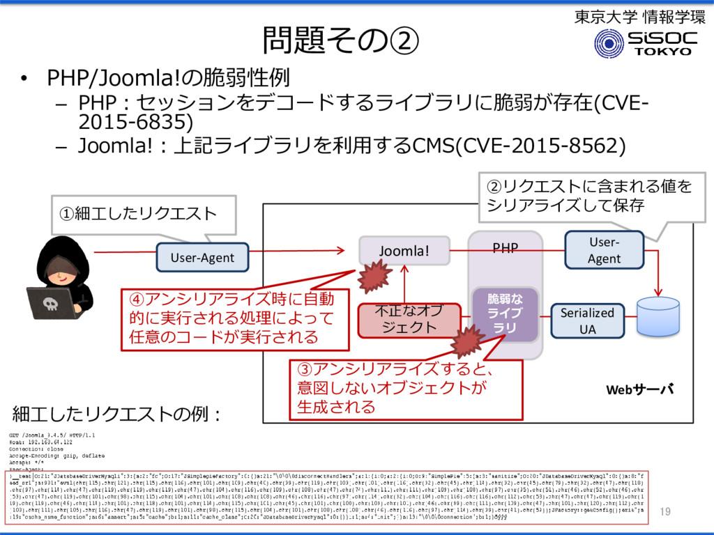 東京大学 情報学環 問題その② • PHP/Joomla!の脆弱性例 – PHP:セッションを...