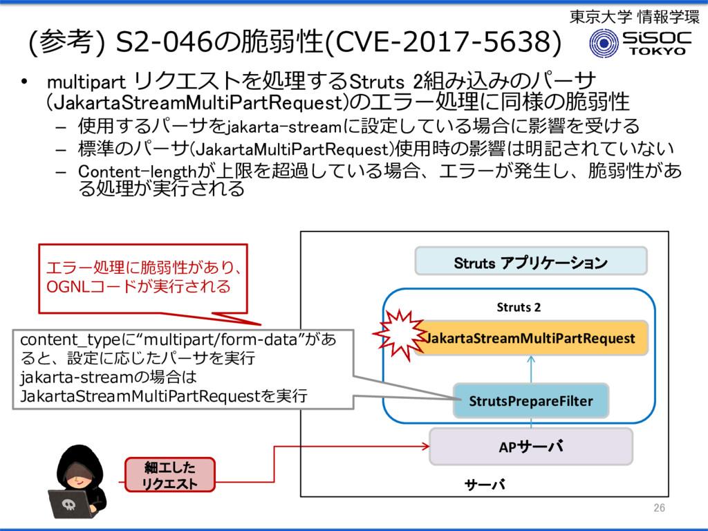 東京大学 情報学環 (参考) S2-046の脆弱性(CVE-2017-5638) • mult...