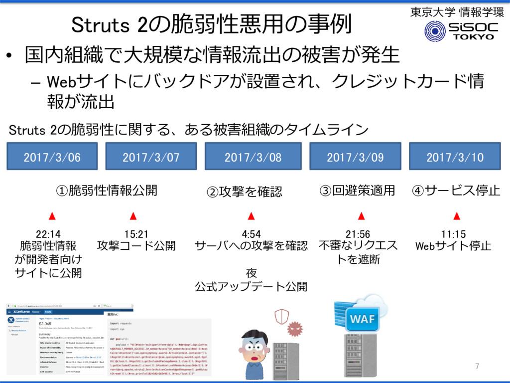 東京大学 情報学環 Struts 2の脆弱性悪用の事例 • 国内組織で大規模な情報流出の被害が...