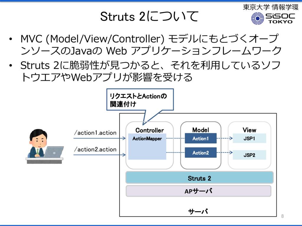 東京大学 情報学環 Struts 2について • MVC (Model/View/Contro...