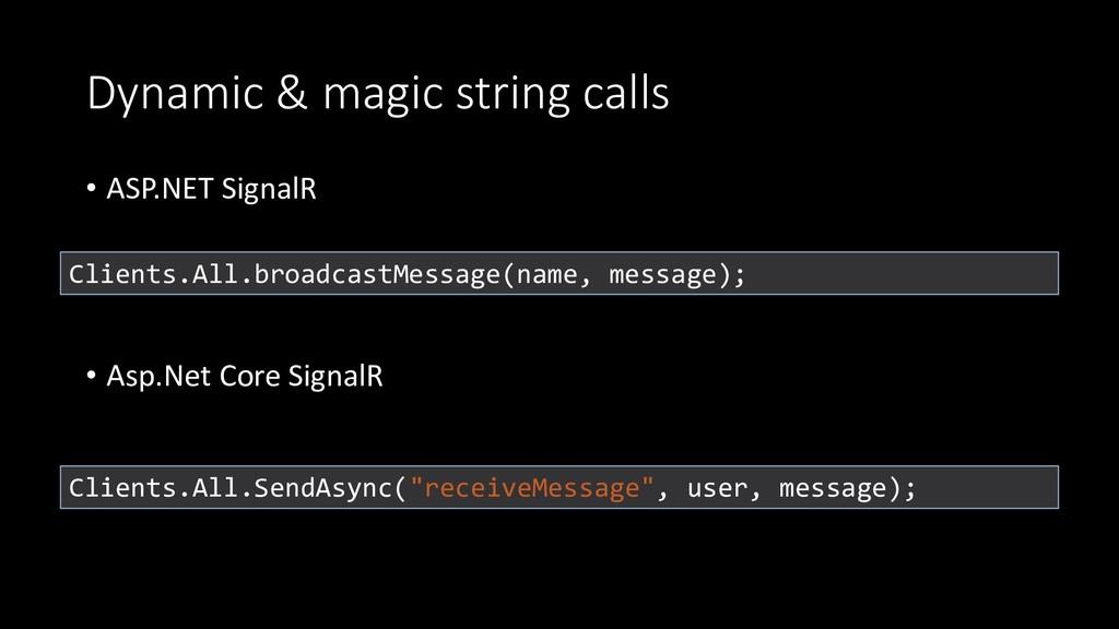 Dynamic & magic string calls • ASP.NET SignalR ...