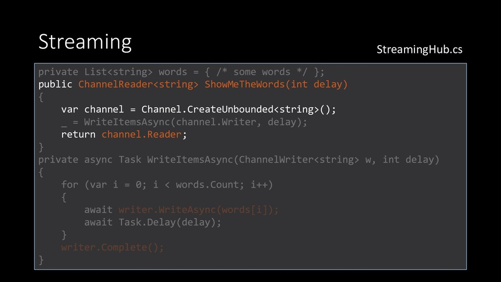 Streaming public ChannelReader<string> ShowMeTh...