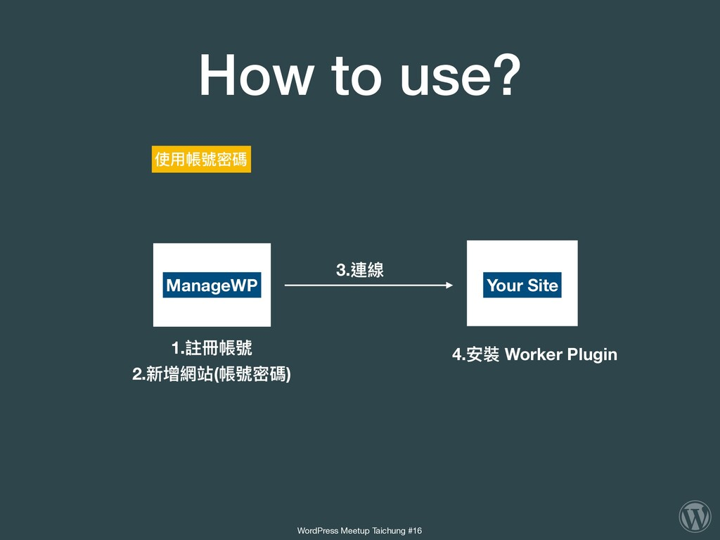 How to use? ManageWP Your Site 4.安裝 Worker Plug...