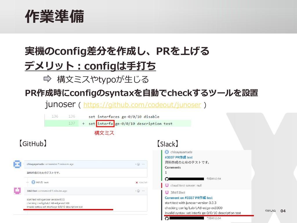 04 作業準備 実機のconfig差分を作成し、PRを上げる デメリット:configは手打ち...