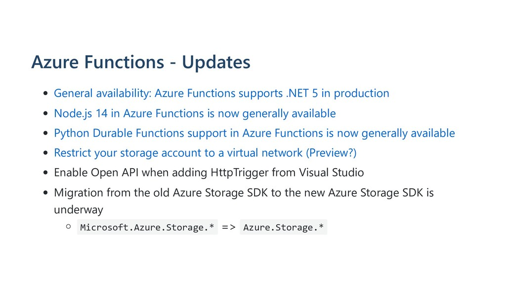 Azure Functions - Updates General availability:...